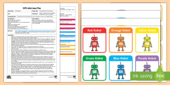 EYFS Colour Robots Position Game Adult Input Plan and Resource Pack - Early Years planning, adult led, prepositions, 40-60 months, Maths, Mathematics, SSM, Shape, Space a