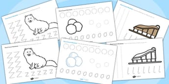Polar Regions Themed Pencil Control Worksheets - polar regions, pencil control worksheets, themed pencil control worksheets, polar regions themed
