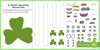 St. Patrick's Day Shamrock Man Art Activity Sheet - ROI, St. Patrick, St. Patrick's Day, Art, Shamrock, Shamrock Man,Irish, Saint Patrick, craft, art