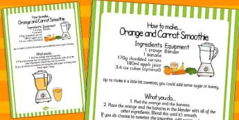 Orange and Carrot Smoothie Recipe Sheet - recipe, sheet, smoothie