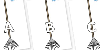 A-Z Alphabet on Garden Rakes - A-Z, A4, display, Alphabet frieze, Display letters, Letter posters, A-Z letters, Alphabet flashcards