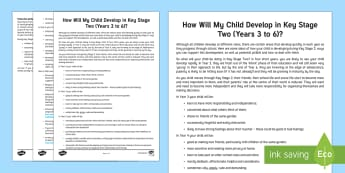 How Your Child Develops in Key Stage Two Parent and Carer Information Sheet - help, advice, wellbeing, health, parents, primary, child development, carers, parents evenings