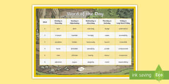 Year 3 Autumn 2 Word of the Day Display Poster - vocabulary, Word Class, Ambitious, morning activities, improving writing, lks2, spag, Grammar