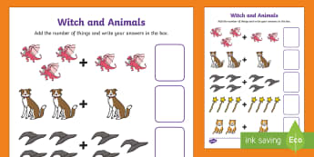 Witch and Animals Addition Sheet Up to 10 - room on the broom, up to 10, addition sheet, addition, plus, adding, addition worksheet, themed addition