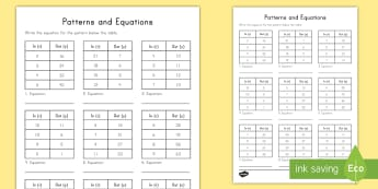 Patterns and Equations Input Output Tables Activity Sheet - patterns, equations, expressions, input table, output table, algebraic thinking