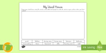 A1 Ficha de actividad: Mi casa ideal en inglés - house, home, hogar, lengua extranjera, English,Spanish-translation