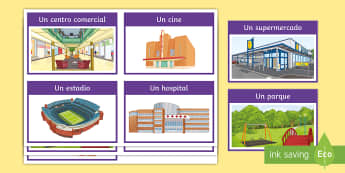Places in Town Flashcards Spanish - KS3, themes, home and town