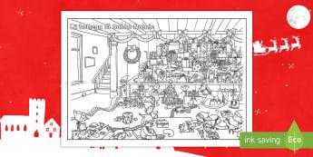 La Bottega di Babbo Natale Fogli da colorare - natalizio, babbao, natale, italiano, italian, materiale, scolastico, colori