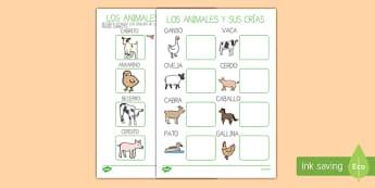 Los animales y sus crías actividad de emparjear-Spanish