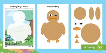 2D Shape Duckling Activity Sheets - EYFS, Early Years, Twinkl Originals, Twinkl Fiction, Brenda, Duck, Egg, worksheets, Nest, Spring, Sp