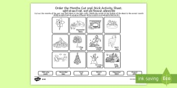 Months of the Year Cut and Stick Activity Sheet English/Hindi - Months of the Year Cut and Stick Activity Sheet - months, year, cut, stick, months of the yearenglis
