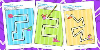 Pencil Control Path Worksheets to Support Teaching on Sharing a Shell - fine motor skills
