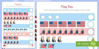 Flag Day Counting Activity - Flag Day, counting, Betsy Ross, George Washington, US Flag, Stars and Stripes