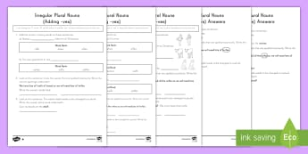 Irregular Plural Nouns Differentiated Activity Sheets - Language, English, Grammar, vocabulary, word classification, key words, word work