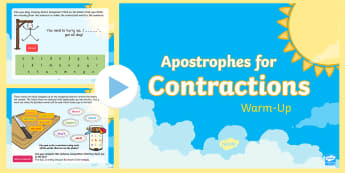 Year 2 Apostrophes for Contraction Warm-Up PowerPoint - Spag, revision, morning starter, contractions, punctuation, omission, contracted wrods, contracted f