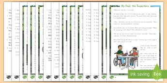 My Dad, the Superhero Reading Comprehension Differentiated Activity Sheets - Father's Day, story, differentiated, activity sheets, ELA, comprehension