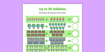 Flat Boy Up to 20 Addition Sheet - flat stanley, flat boy, jeff brown, addition