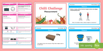 Chilli Challenge Year 3 Measurement Differentiated Math Challenge Cards - measure, compare, add, subtract, length, mass, volume, capacity, time, estimate, money, perimeter