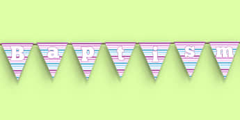 Baptism Bunting - Baptism, party, decorations, new parents, bunting