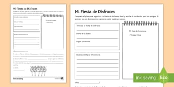 My Fancy Dress Party Plan Writing Activity Sheet Spanish - carnival, costume, clothes, Invitation, future, food, drinks