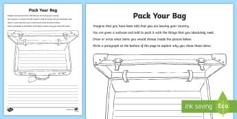 International Migrants Day Bag Packing Activity Sheet - rrsa, unicef, rights, immigration, refugee,Scottish