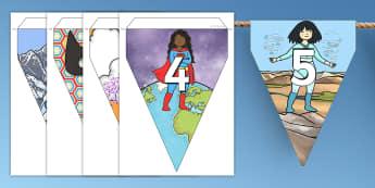 Guirlande de fanions de 0 à 100 sur le thème des supers héros - numération, frise numérique, guirlande, fanions, compter, to count, nombre, number, math, mathématiques, cycle 1, cycle 2, KS1