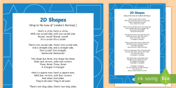 2D Shapes Song - shape, measure, pattern, EYFS, 2D, circle, semi-circle, triangle, square, rectangle, pentagon, hexag
