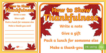 How to Show Thankfulness A2 Display Poster