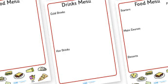 Italian Menu Writing Frame - italian menu, writing frame, writing aid, page borders, writing template, food list, fill in, Italy, cuisine, food and drink, roleplay, restaurant