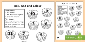 Cupcake Roll and Colour Dice Addition Activity - cupcake, adding