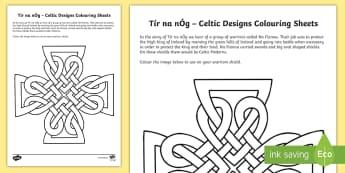 Tír na nÓg Celtic Design Patterns Colouring Pages - Tír na nÓg resources, Celtic, Design, Patterns, Na Fianna, Shields, History, Myths and Legends. ,I