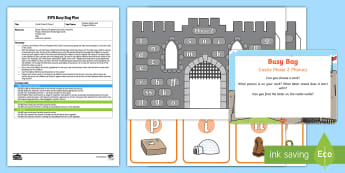 EYFS Castle Phase 2 Phonics Busy Bag Plan and Resource Pack - grapheme, satpin, phoneme, reading, knights, Medieval.