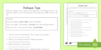 Dialogue Tags Activity Sheet - Quotation, Quotation Marks, worksheet, Sentences, quotation tags, punctuation, English, Language