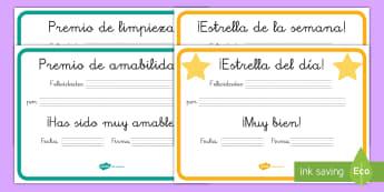 Diplomas: Juego de rol - El colegio - diploma, diplomas, juego de rol, juego simbólico, colegio, escuela, juego, premio, premios,Spanish