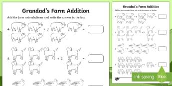 Grandad's Farm Addition Activity Sheet - ROI, on the Farm, farm animals, farming, vegetables, Aistear, Story, Maths, Activity Sheet, Counting