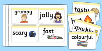 Wow Word Cards - Wow words, adjectives, VCOP, Wow, flashcards, word card, tasty, scary, ugly, beautiful, colourful sharp, bouncy, vcops