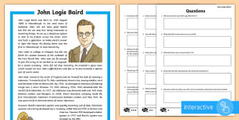 Scottish Scientist and Engineer John Logie Baird Differentiated Go Respond Worksheet / Activity Sheets - CfE, science, engineering, STEM, television, inventor, inventions, topical science, technology, famo