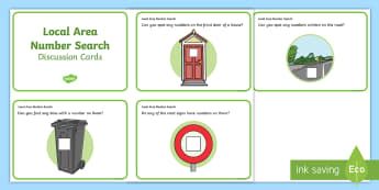 Local Area Number Search Discussion Cards - Mathematics, Number recognition, Walk, Outdoors, Numerals, Numbers, Environment, Search, Hunt, Ident