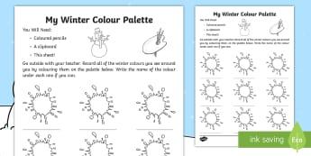 My Winter Colour Palette Worksheet / Activity Sheet - winter, season, observation, worksheet, worksheet / activity sheet, colours, palette,Irish, worksheet