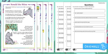 Year 2 Ronald The Rhino Differentiated Comprehension Go Respond Activity Sheets - Children's Books, Ronald the Rhino, children's book, rhyme, story, text, rhyming couplets, syllabl