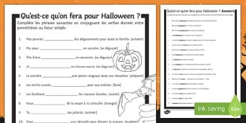 Halloween Simple Future Tense Gap Fill Activity Sheet-French, worksheet