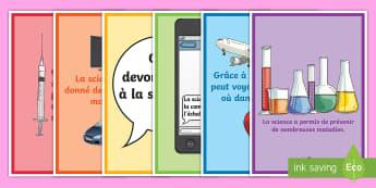 Posters d'affichage : Que devons-nous à la science ? - Fête Des Sciences, découvertes, inventions, scientifique, Cycle 3, Cycle 2, affiche