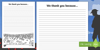 Remembrance Day 'We thank you because...' Writing Template