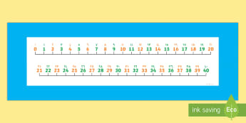 0-40 Number Line Arabic/English  - Counting, Numberline, Number line, 0-40 n, Counting on, Counting back, numeracy,numberline,counting,