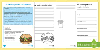 Year 5 Discussion Writing:  Is Takeaway Food a Good Option? Activity Sheets - Literacy, australian curriculum, australia, naplan, assessment, literacy, english, text types,worksh