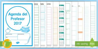 Agenda del Profesor - Organización, recursos de la clase, alumnos, Evaluación, Préstamo de libros,Spanish