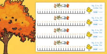 Autumn Number Line 0 20 - count, counting, counting aid, seasons
