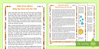 Why the Hare Has No Tail Story - story, hare, tails, myth, tales from Africa, Tinga Tinga, moral,animals, tradition