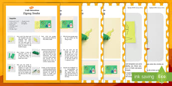 Zigzag Snake Craft Instructions English/Afrikaans - January, animals, nature, reptiles, art, reptiele, kreatief, EAL