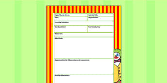 Circus Themed Adult Led Focus Planning Template - plans, plan